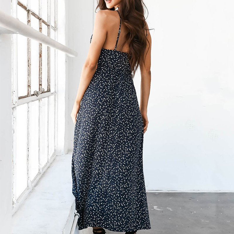 Floral Print Chiffon Long Dress 2020 Sexy V Neck Backless Boho Beach Dress Vestidos Women Split Summer Sundress Maxi Dress 5