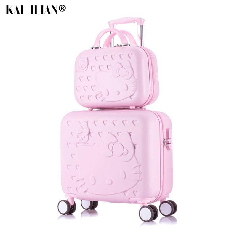 Hello kitty каюта, багаж на колесиках, набор, для женщин, детей, дорожный Багаж, подарок для детей, милый мультяшный чемодан на колесиках