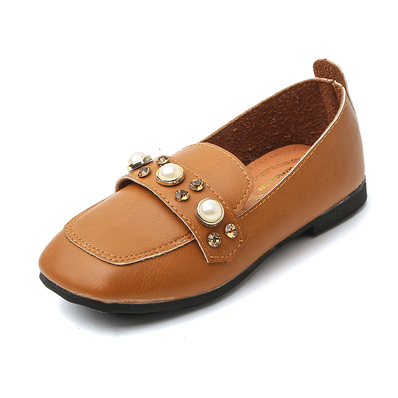2017 Autumn Baby Girls Leather Shoes Casual Style Female Children PU Fashion Shoes Soft Bottom Beads