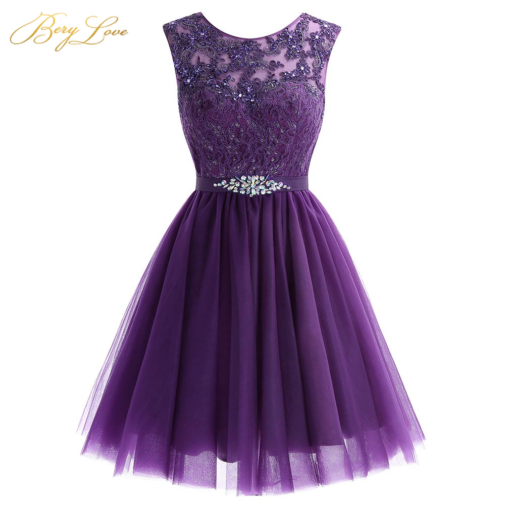 Cute Short Purple Homecoming Dress 2019 Mini Beaded Lace Homecoming Dress Tulle Homecoming Gown Crystal Cheap Graduation Dress(China)