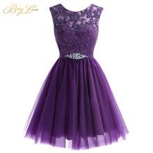 Милое короткое фиолетовое платье для выпускного вечера Мини бисерное кружевное платье для выпускного вечера Тюлевое платье для выпускного вечера Кристальное Дешевое платье для выпускников