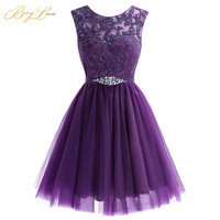 Cute Short Purple Homecoming Dress 2019 Mini Beaded Lace Homecoming Dress Tulle Homecoming Gown Crystal Cheap Graduation Dress