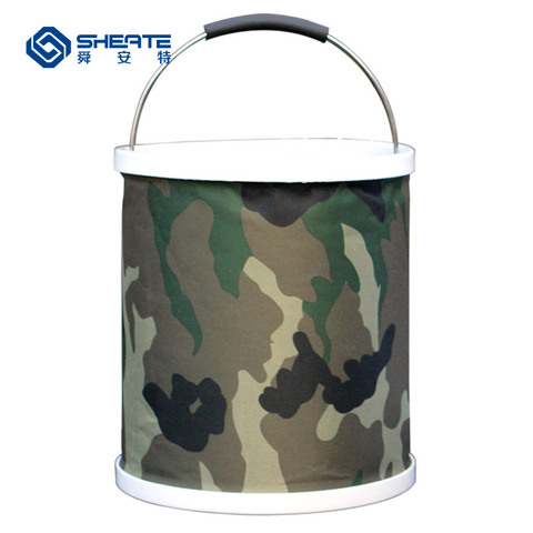 multi funcional aplicavel pesca lavagem de carro balde dobravel retratil camouflage oxford barril ferramenta de