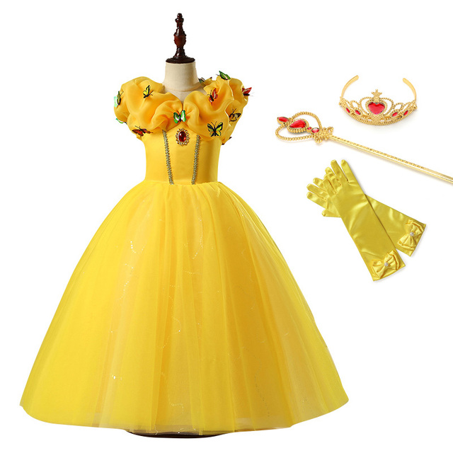 6c5a8c0abf1d Girls Belle Princess Dress Children Cosplay Beauty and the Beast Costume  Roll Neck Ball Gown Kids Halloween Birthday Party Dress