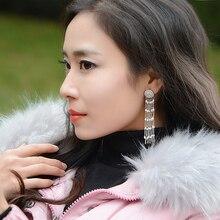 Фотография Stud Earrings for women Natural Pearl tassel 925 sterling silver new cubic zirconia long delicate handmade pendientes oorbellen