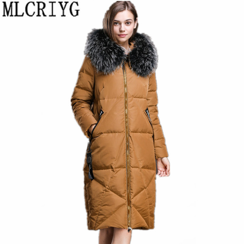 MLCRIYG 2019 New Women's Winter Jacket Long White Duck   Down     Coats   for Women With Natural Raccoon Fur Collar chaqueta mujer YQ237