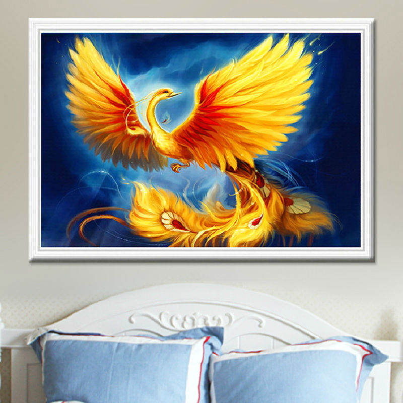 Needlework 3D Diamond Embroidery Fire Phoenix Full Drill Resin Handicrafts Picture Home Decor Mosaic DIY Diamond Painting Animal