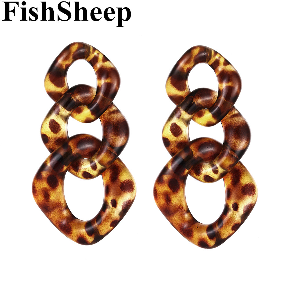 FishSheep Trendy Acrylic Leopard Link Chain Long Drop Earrings Statement Resin Big Circle Pendant Earring 2019 Fashion Jewelry