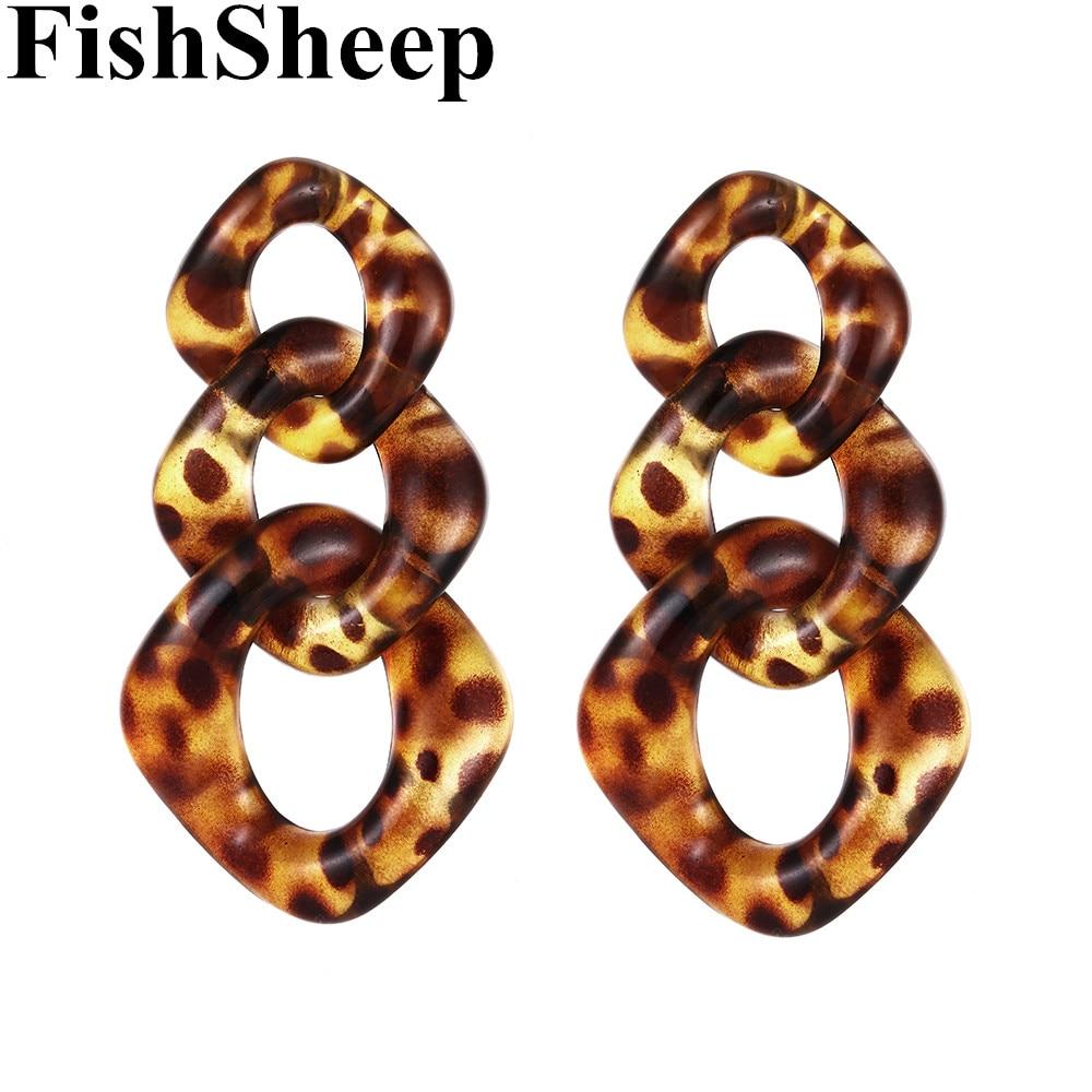 FishSheep Trendy Acrylic Leopard Link Chain Long Drop Earrings Statement Resin Big Circle Pendant Earring 2019 Fashion Jewelry