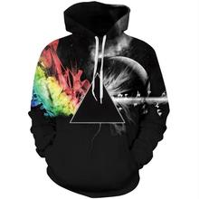 Cloudstyle 2018 Abstract Prism 3D Hoodies Men Sweatshirts Geometry Hoody Streetwear Pullovers Tops Harajuku Large Size