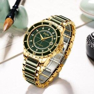 Image 4 - Top zümrüt yeşim otomatik erkek mekanik saat safir sarmal aydınlık eller takvim erkekler kol saatleri İsviçre marka