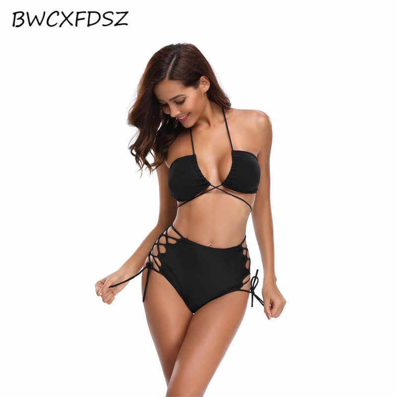 BWCXFDSZ nouveau Bikini Biquini maillot de bain pour femme 2018 Bandage taille haute découpé maillot de bain femmes plage maillot de bain