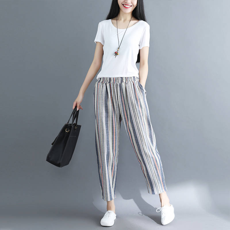 Idopy Fashion Womens Harem Pants Cotton Linen Loose Fit Striped Ankle Length Summer Drop Crotch Trousers For Female Outerwear 3
