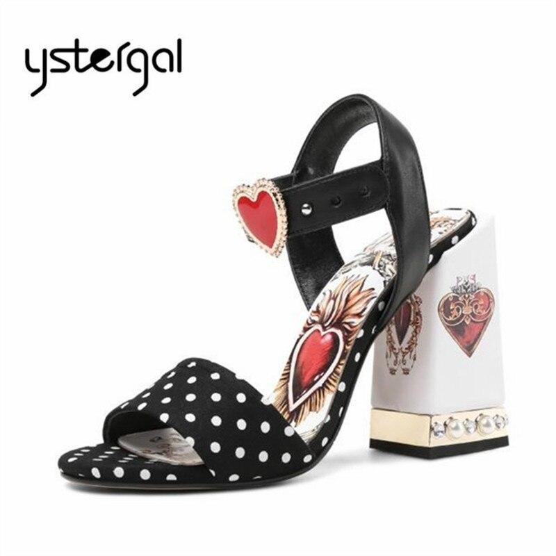Ystergal dekor w kształcie serca lato kobiety sandały 10 CM masywne szpilki na wysokim obcasie czarny Sandały gladiatorki kobiety pompy buty ślubne kobieta w Wysokie obcasy od Buty na  Grupa 1