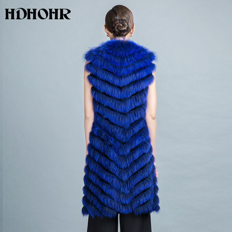 HDHOHR 2019 բարձրորակ Fox Fur Vest Long Fox Warm Women - Կանացի հագուստ - Լուսանկար 4