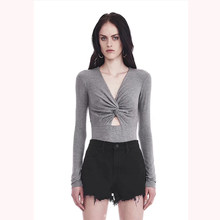 de47e4074e0 Women American Style Chestward Crossover Long Sleeve Sexy Hollow Out Slim  Cotton Casual Bodysuits(China