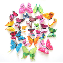 Фотография 12Pcs 3D Double layer Butterfly Wall Sticker on the wall for Home Decor DIY Butterflies Fridge Magnet stickers Room Decoration