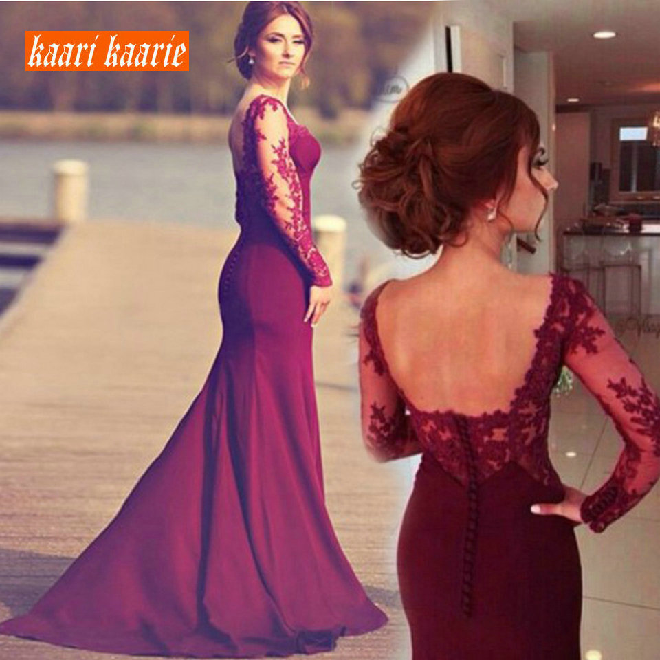 Fashion Burgund Women   Evening     Dresses   Long 2019 Mermaid   Evening   Gown Scoop Spandex Lace Zipper Slim Fit Sexy Formal Party   Dress