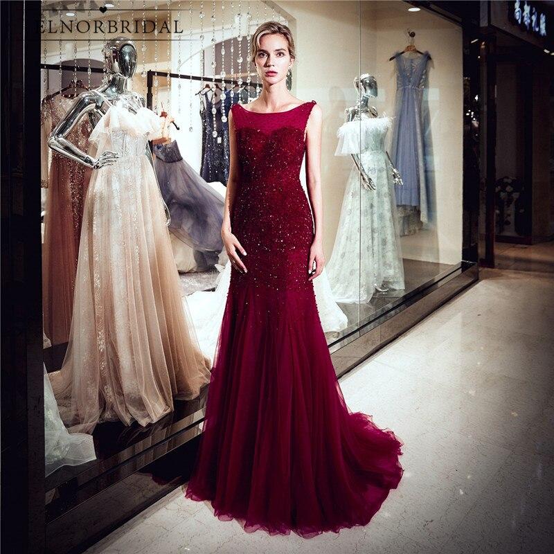 Burgundy Mermaid   Evening     Dresses   2019 Beaded Crystal Robe De Soiree Open Back Formal Women Abendkleider Prom Party Dinner   Dress