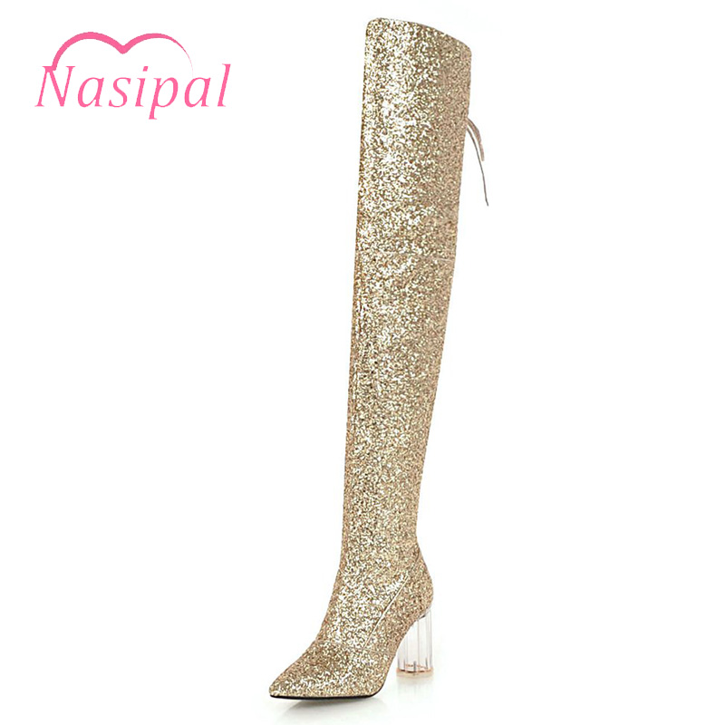 Nasipal Sexy bling bling Luxury Sequin Cloth Thigh High Heels Lace up Shoe Glitter Stiletto Over the Knee Fashion Red Boot Women sequin embroidered zip up jacket