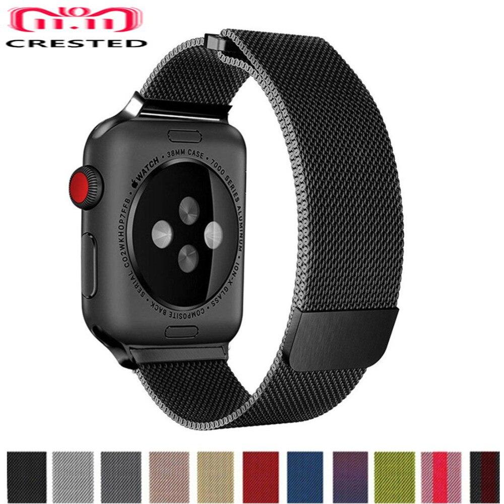 CRESTED Milanese Schleife Band Für Apple Uhr serie 4 44mm/40mm strap Iwatch 3 2 1 42mm 38mm Edelstahl Handgelenk armband gürtel