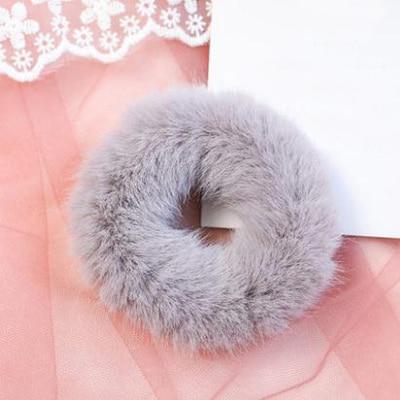 Новое поступление, зимняя эластичная резинка для волос, Тиара для волос для взрослых, простая однотонная мягкая плюшевая повязка для волос, повязка для волос для женщин, аксессуары для волос - Цвет: Gray