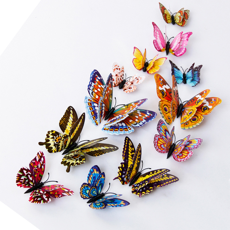 % 12pcs PVC 3d diy Butterfly Luminous glow in dark Design Decal Magnetic magnet sticking double feather wall  stickes home Decor