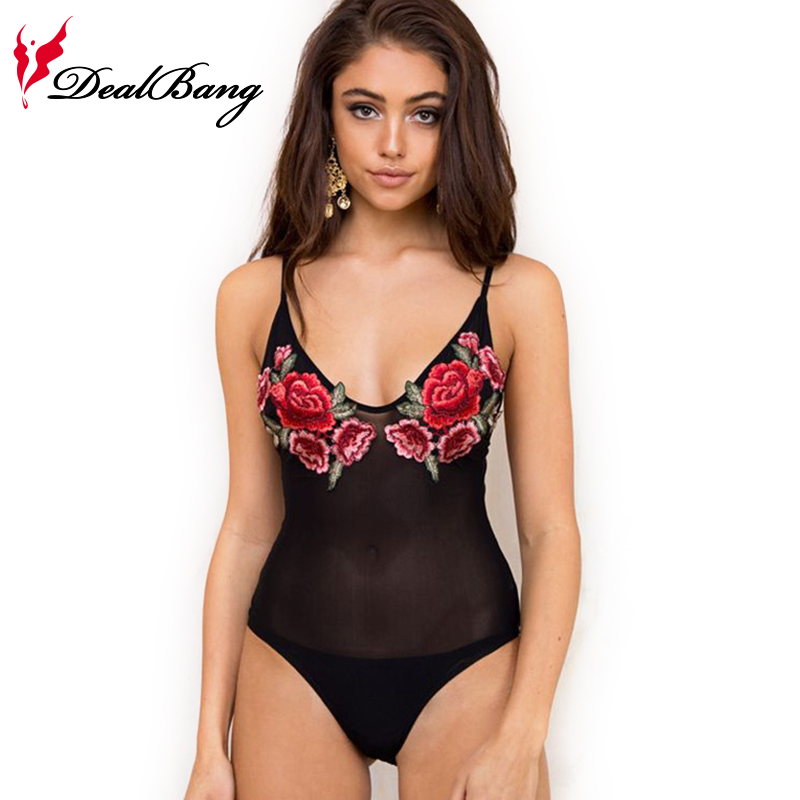 2017 New Summer Women Black Lace Sexy Flower Halter Straps Embroidery Mesh Bodysuit Deep V Neck
