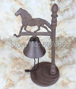 Rustic Standing Welcome Dinner Bells Table Hand Bell Cast Iron Decorative Horse Rust Bar Pub Party Home Supply New Free Shipping
