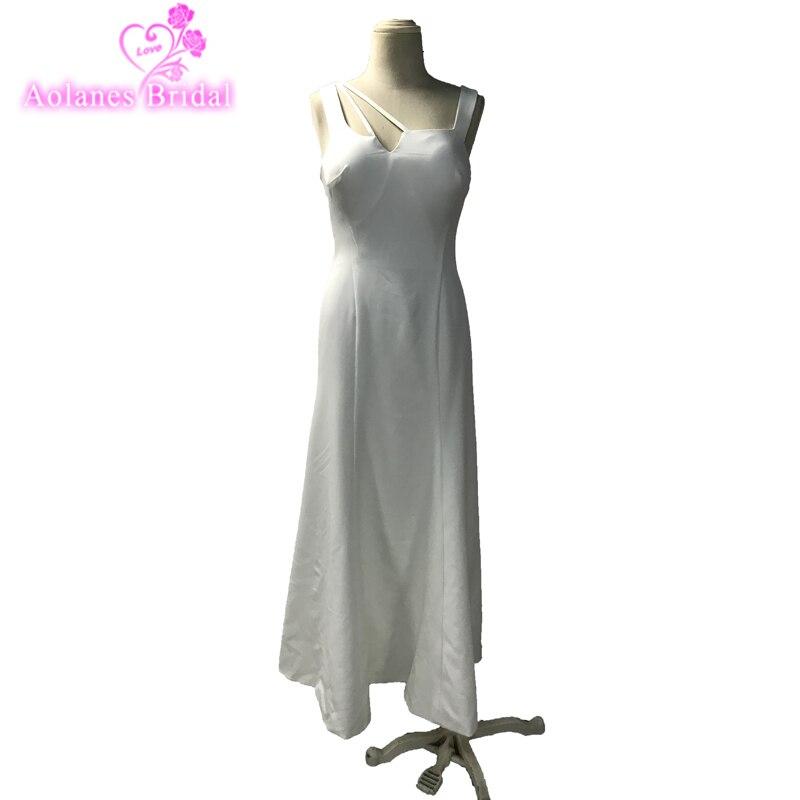 Elegant White Satin Strapless Aline Prom Dresses 2018 Vestido De Formatura Middle East Saudi Arabia Prom Dresses