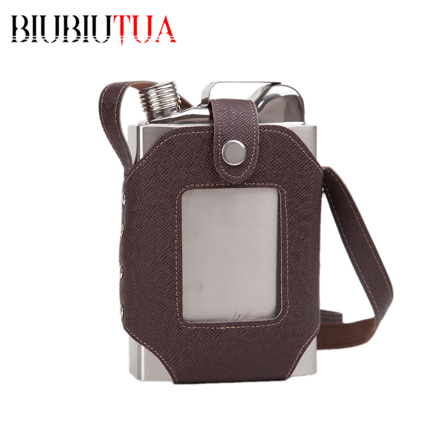 BIUBIUTUA 26oz Whiskey Flasks Portable Stainless Steel Big Capacity Removable Brown Transparent Holster Buckle Hip Flask