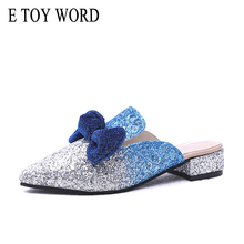 E TOY WORD Retro Pointed Toe half Slippers Women 2019 New Sandals Womens Summer Shoes Bow Fashion large size 41-43