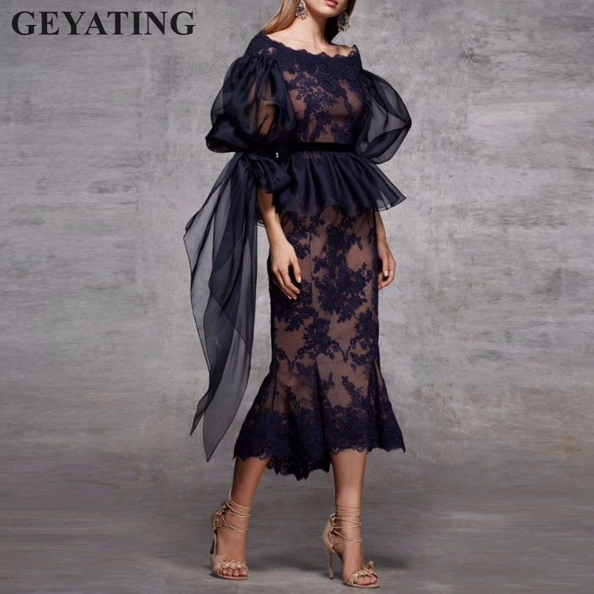 Vintage Black Lace Mermaid Cocktail Dresses with Long Sleeves Peplum Elegant Tea Length Short Evening Party Dress Dinner Gowns