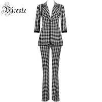 Vicente 2019 новый мода Хаундстут жаккардовые комплект из двух предметов три четверти рукава бандаж знаменитости для вечеринок топы и штаны кост