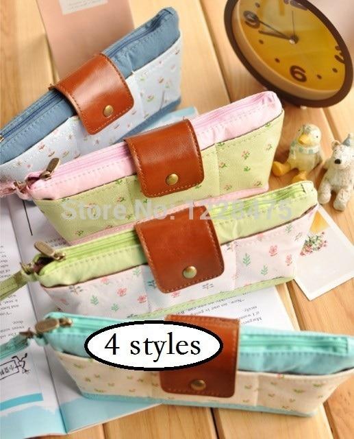 1 pçs/lote NEW Coreia Do estilo Fresco Jardim Floral multi-função saco do lápis caneta caso saco de cosmética