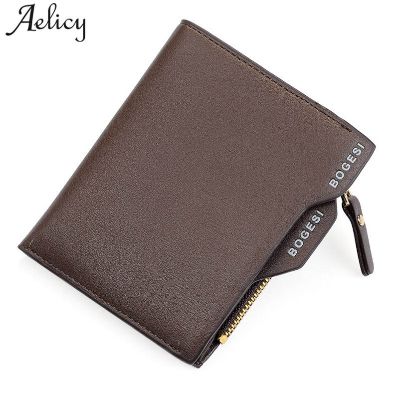 Aelicy 2018 New Fashion Leather Men Wallet Small Men Walet Zipper Male Short Coin Purse Brand High Quality carteira masculina