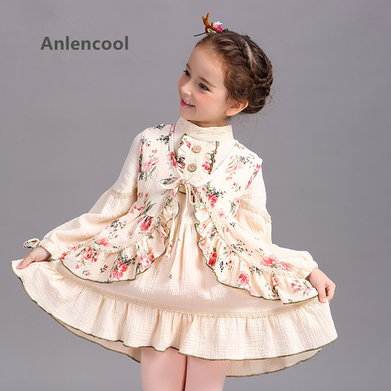 цены Anlencool Children's wear suit for girls autumn Princess Dress retro cotton Court on children girl two piece suit brand new girl