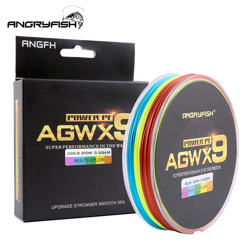 ANGRYFISH 9 Strands 300m Super PE Braided Fishing Line 6 Colors Strong Line