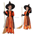 2017 Children Kids Baby Girls Sexy Halloween Carnival Party Pumpkin Maxi Dress with Hat Witch Costumes Child Cosplay Clothing