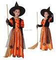 2017 niños niños bebés niñas sexy maxi dress con sombrero de fiesta de carnaval de halloween calabaza bruja disfraces cosplay niño ropa