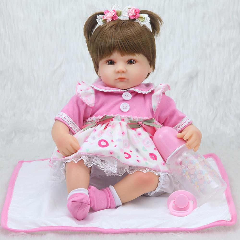 "17"" bebe realista menina doll reborn lifelike girl reborn babies silicone dolls toys for children xmas gift bonecas for child 1"