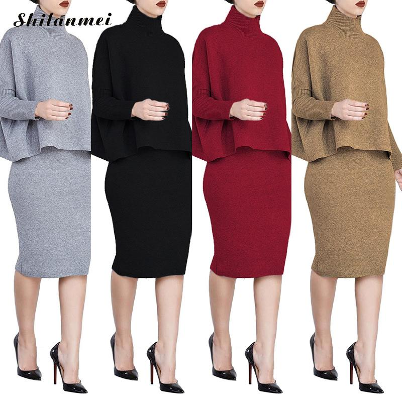 Knitted Plus Size sweater pencil skirt top women set mujer