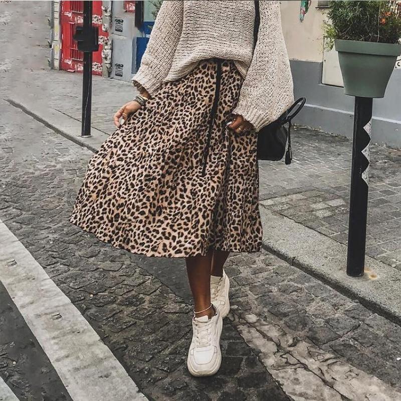 Paris Girl Vintage Leopard Print Pleated Skirts Women Punk Rock Korean Skirt Streetwear Drawstring Elastic Waist Ladies Midi