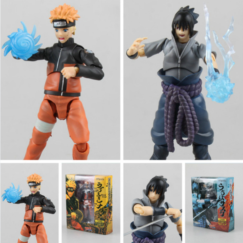 Hot ! NEW 15cm Naruto movable Uchiha Sasuke Uzumaki Naruto action figure toy Christmas gift doll 14cm high quality naruto action figure shf rasengan naruto chidori sasuke model movable joints can change face