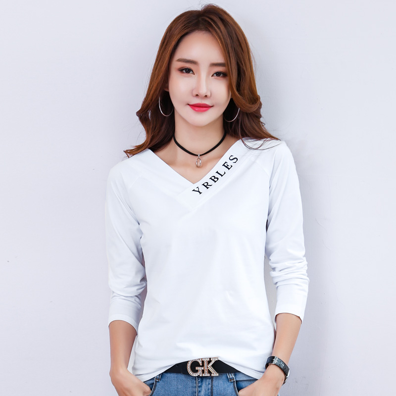 AOSSVIAO Vogue Tshirt Woman Long Sleeve Letter T Shirt Women O Neck T Shirt Poleras Mujer 2019 Korean Fashion Tee Shirt Femme in T Shirts from Women 39 s Clothing