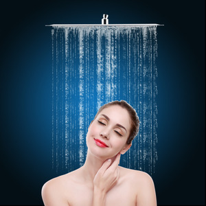 Image 2 - Square 16 inch Ultra Thin Stainless Steel Rainfall Bathroom Shower Head Chrome Modern Home