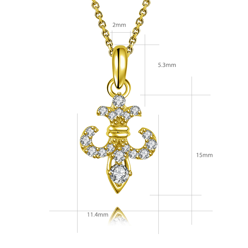 Arrow Jewelry Stainless Steel cross with diamond cut solid 14K gold cross pendant