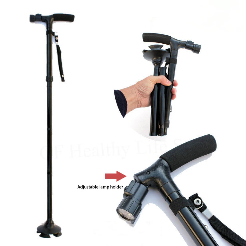 Old Peoples Cane Medical Crutches Folding LED Safety Walking Stick Magic Cane 4 Head Pivoting Trusty Base Black Lamp Crutches