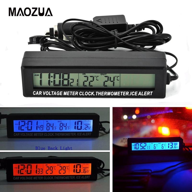 12V/24V Car Voltage Meter Clock Thermometer Ice Alert Digital LCD Clock Red/Orange Backlight