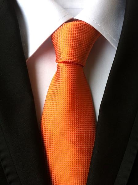 NEW Mens Formal Necktie Jacquard Woven Tie Orange Gravata